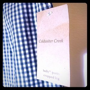 Coldwater Creek gingham Check crop pants Sz 4 New